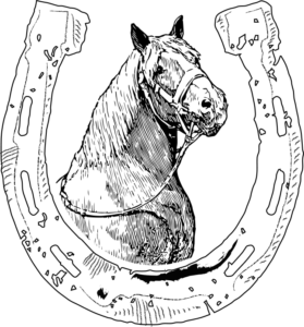 Horse head inside horseshoe frame black